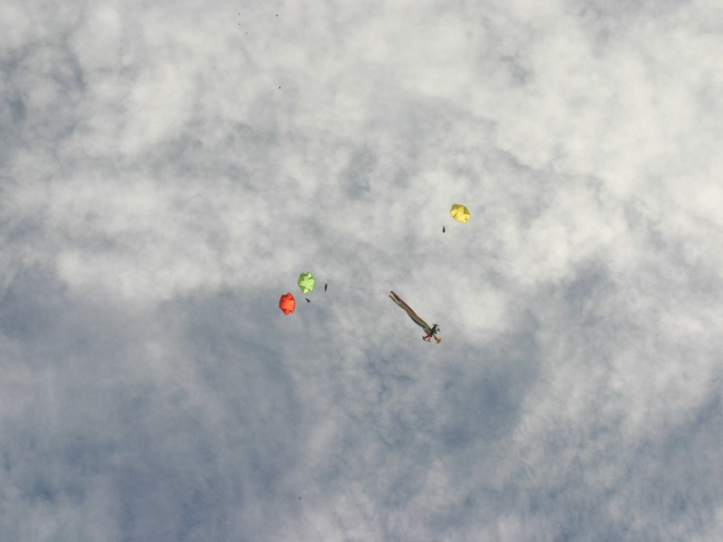 "Lynell Jackson's ""Time Twister"" with three 12"" parachutes"